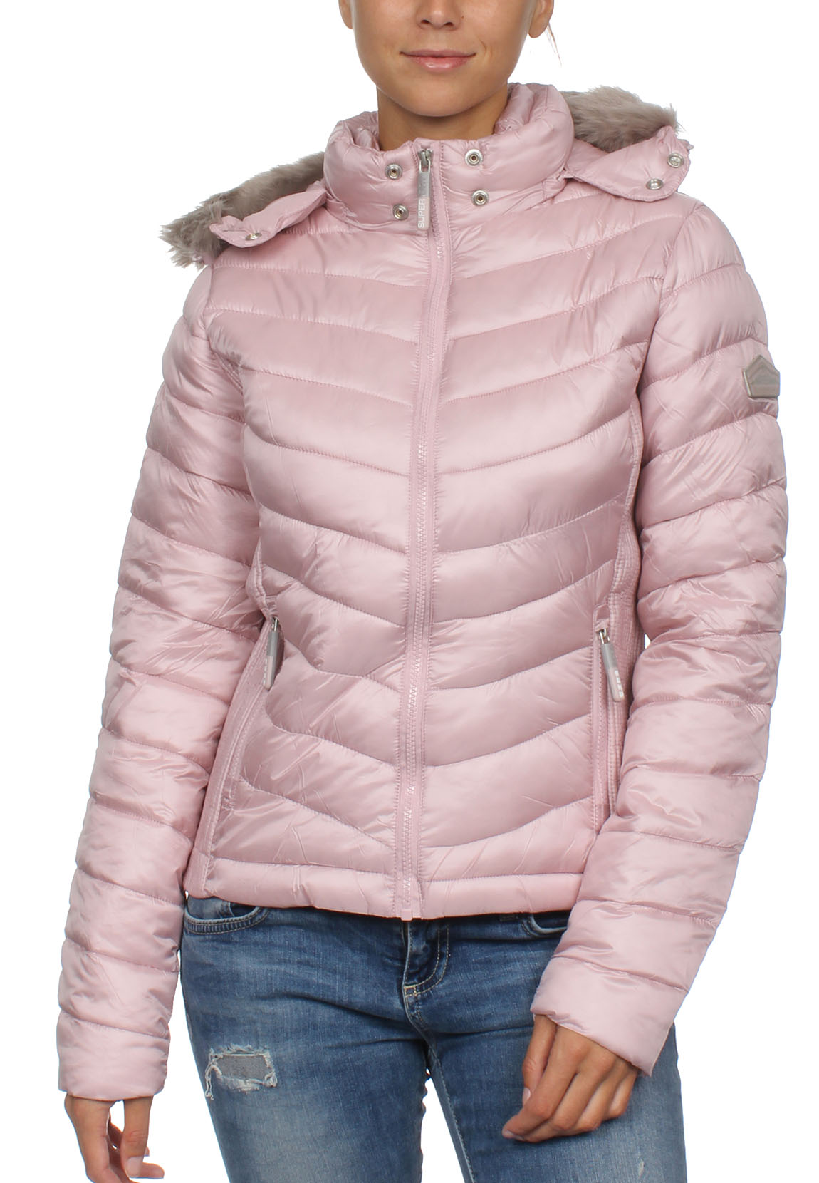 new concept 08114 8db9a Details zu Superdry Damen Jacke HOODED LUXE CHEVRON FUJI Rose Quartz
