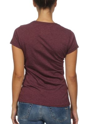 Superdry Damen T-Shirt LUXURY FOIL ENTRY TEE Chic Burgundy Marl  – Bild 1