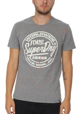 Superdry T-Shirt Herren WORLDWIDE TICKETTYPE SPLAT TEE Dark Marl – Bild 0