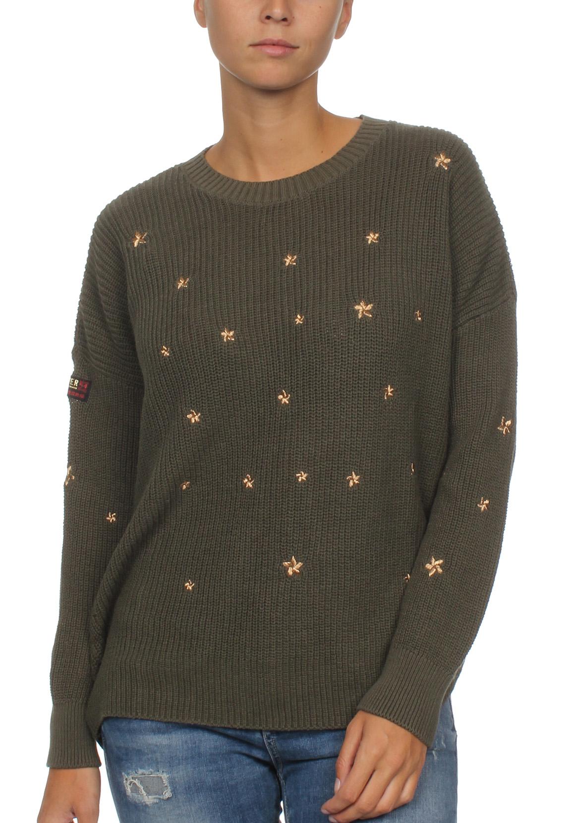 superdry pullover damen star cascade jumper military olive damen sweater hoodies. Black Bedroom Furniture Sets. Home Design Ideas