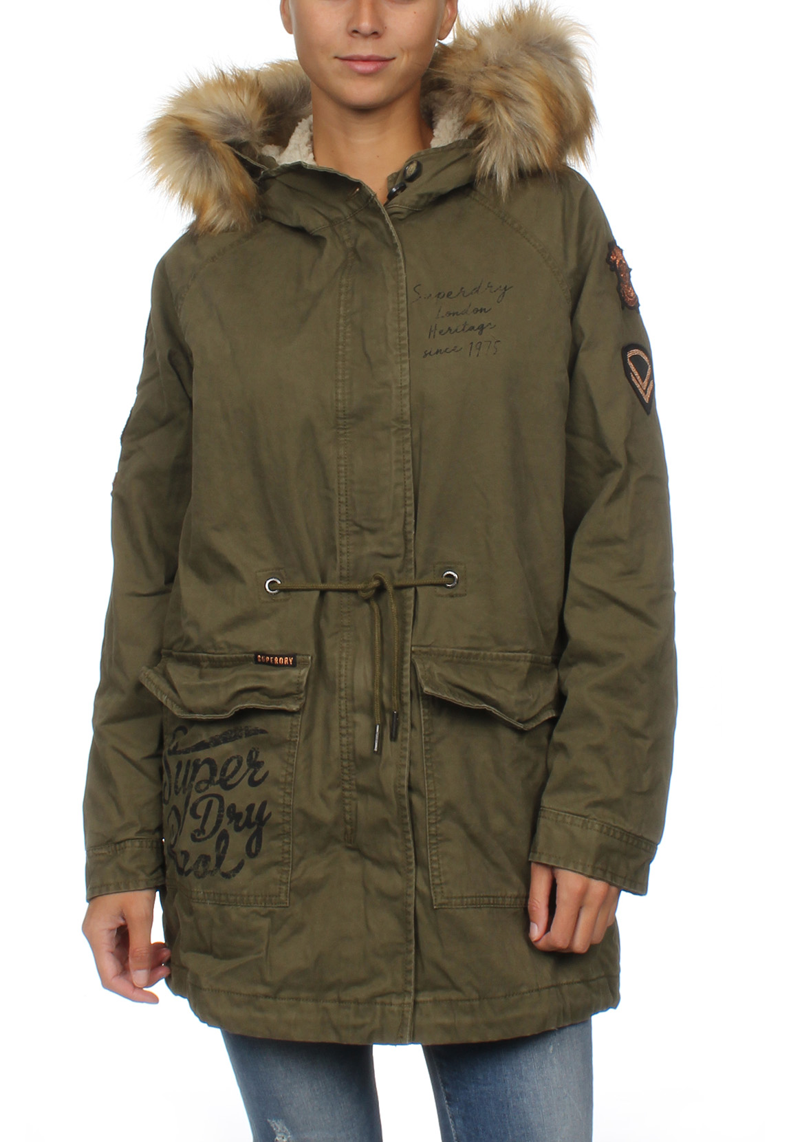Détails sur Superdry Veste Femmes Rookie Yellow Weather Tigre Parka Kaki
