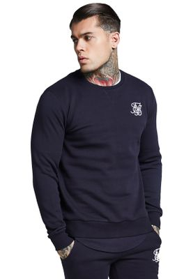 SikSilk Sweater Herren CURVED HEM CREW SWEAT SS-112979 Navy – Bild 0