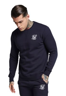 SikSilk Sweater Herren CURVED HEM CREW SWEAT SS-112979 Navy – Bild 1