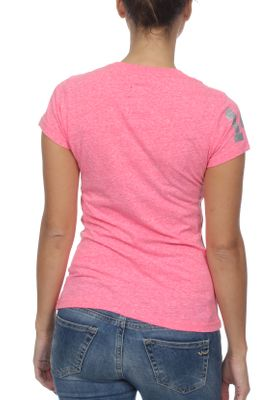 Superdry Damen T-Shirt VINTAGE LOGO SEQUIN ENTRY TEE Fluro Pink Rugged – Bild 1