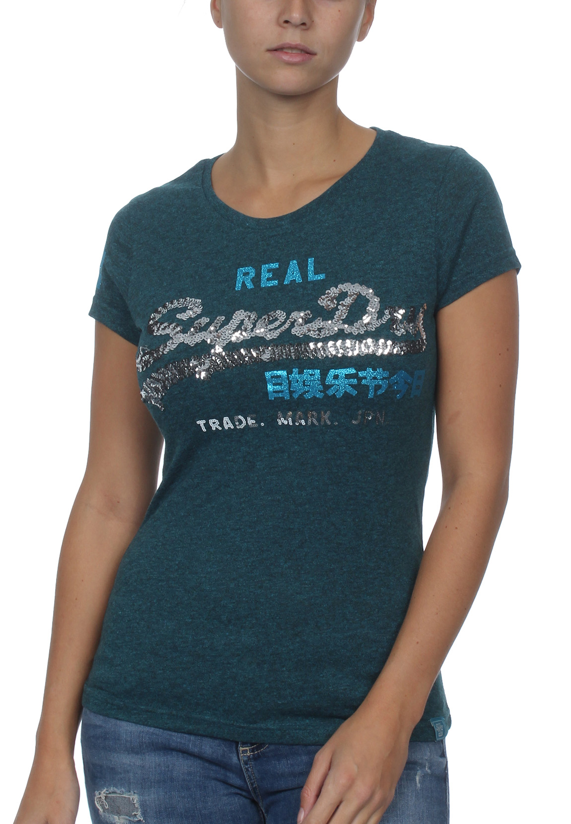 Superdry Damen T-Shirt VINTAGE LOGO SEQUIN ENTRY TEE Atlantic Teal Rugged