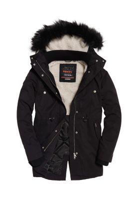 Superdry Jacke Damen NEW MODEL MICROFIBRE PARKA Black – Bild 0
