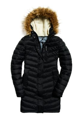 Superdry Jacke Damen CHEVRON FAUX FUR SUPER FUJI Black – Bild 1