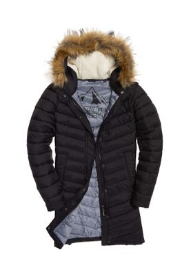 Superdry Jacke Damen CHEVRON FAUX FUR SUPER FUJI Black – Bild 0