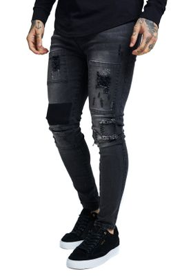 SikSilk Herren Jeans DROP COTCHPATCH DENIMS SS-13401 Schwarz Washed Black – Bild 1