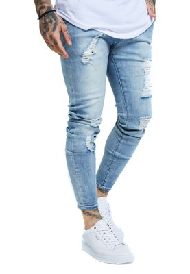 SikSilk Herren Jeans SKINNY DISTRESSED DENIM SS-13233 Hellblau Light Blue Wash – Bild 1