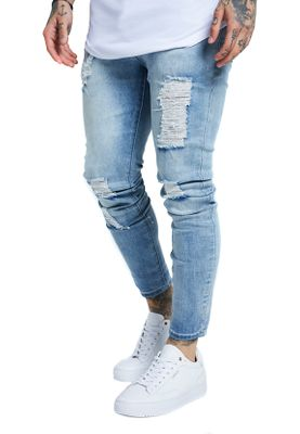 SikSilk Herren Jeans SKINNY DISTRESSED DENIM SS-13233 Hellblau Light Blue Wash – Bild 2
