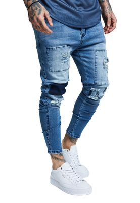 SikSilk Herren Jeans DROP CROTCH PATCH DENIMS SS-13402 Blau Washed Blue – Bild 0