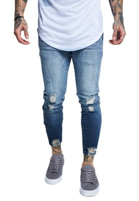 SikSilk Herren Jeans JAGGED HEM DENIMS SS-13403 Blau Washed Raw Blue – Bild 1