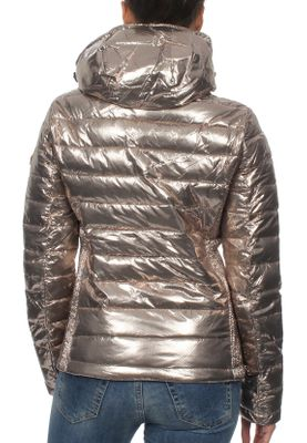Superdry Jacke Damen FUJI SLIM DOUBLE ZIPHOOD  Rose Gold Spot Metallic – Bild 2