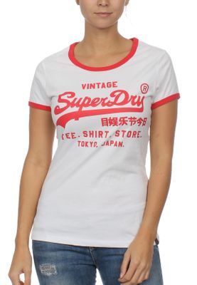 Superdry T-Shirt Damen SHIRT SHOP VINTAGE TOUR ENTRY Optic Weiß – Bild 0