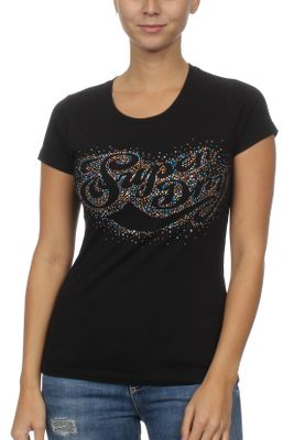 Superdry T-Shirt Damen CLASSIC SCRIPT RSTONE SCATTER Black – Bild 0