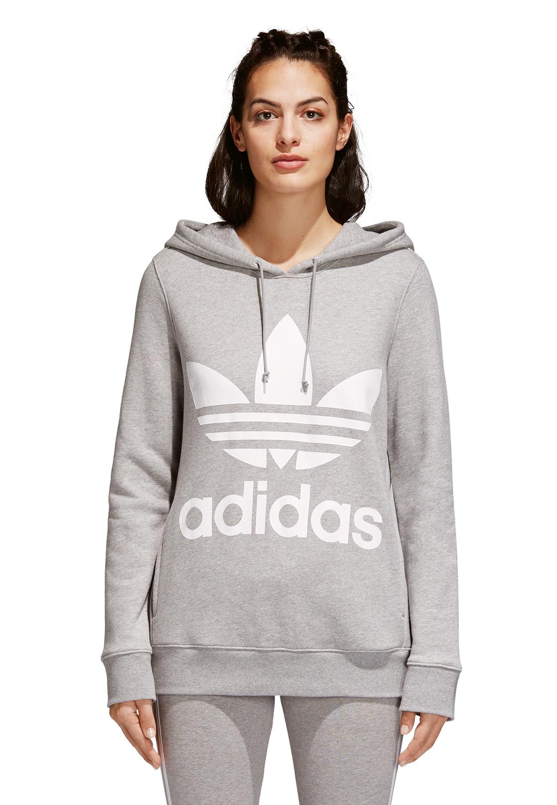 aaea2998f304 Adidas Originals Sweater Damen TREFOIL HOODIE CY6665 Grau Damen ...