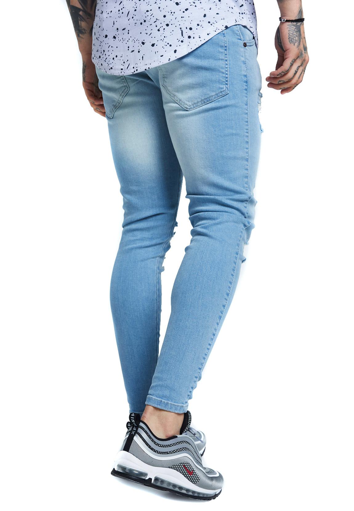 SikSilk Herren Jeans SKINNY DISTRESSED DENIM SS-12994 Hellblau Light Blue a1c9505dd9