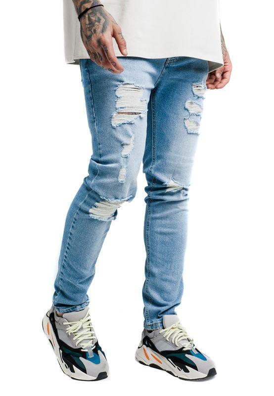 SikSilk Herren Jeans VINTAGE PLUS DENIMS SS-14300 Hellblau Bleached Blue – Bild 2