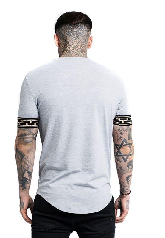 SikSilk Herren T-Shirt CARTEL Lounge Tee SS-14069 Grau Grey – Bild 4