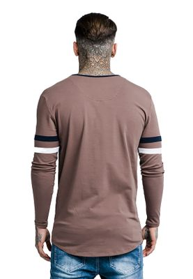 SikSilk Herren Longsleeve TOURNAMENT TEE SS-13826 Braun Rust – Bild 2
