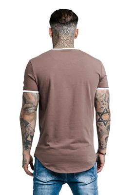 SikSilk Herren T-Shirt CURVED HEM TAPED TEE SS-13976 Braun Rust – Bild 2