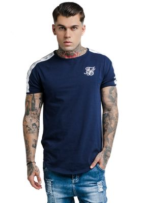 SikSilk Herren T-Shirt CURVED HEM TAPED TEE SS-13977 Dunkelblau Navy – Bild 0