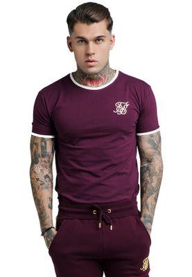 SikSilk Herren T-Shirt RINGER GYM TEE SS-13525 Dunkelrot – Bild 0