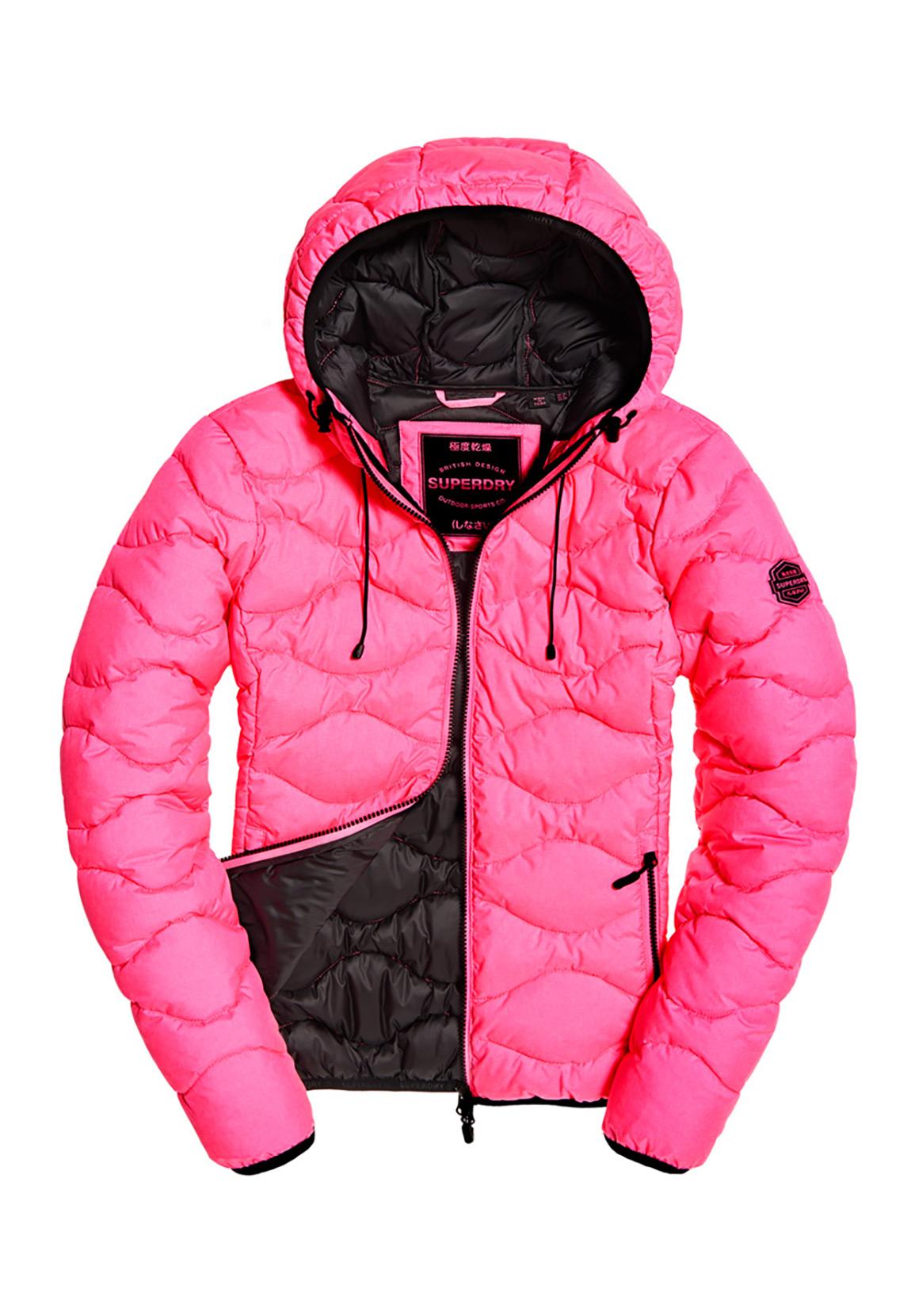 Details zu Superdry Jacke Damen ASTRAE QUILT PADDED JACKET Fluro Pink