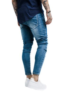 SikSilk Herren Jeans BUST KNEE LOW RISE DENIMS SS-13979 Mittelblau Washed Blue – Bild 2