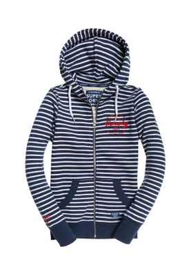 Superdry Zipper Damen APPLIQUE ZIP HOOD  Mystic Navy Stripe – Bild 0