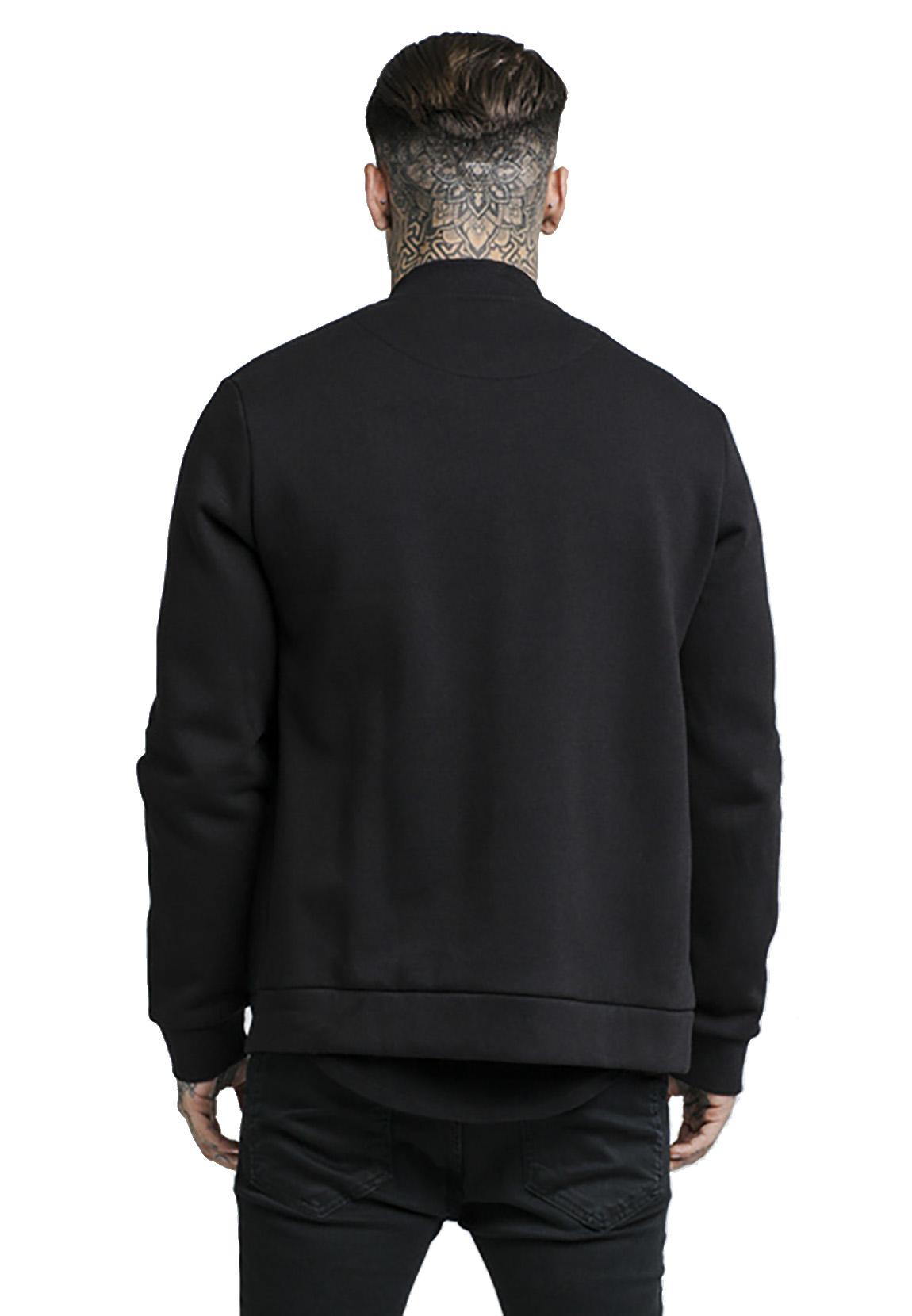 SikSilk Jacke Herren SWEATER BOMBER JACKET SS-14437 Schwarz Black