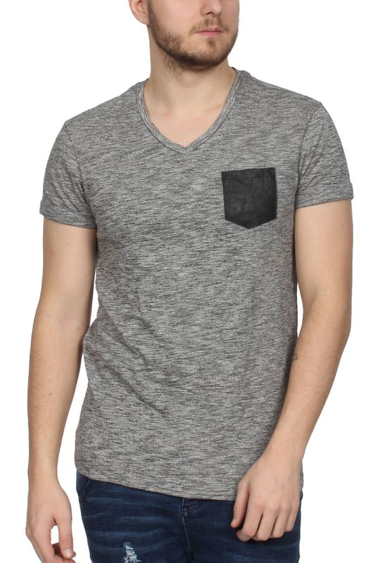 Scotch & Soda T-Shirt Men POCKET TEE 1304-09.51153 Grau meliert – Bild 1
