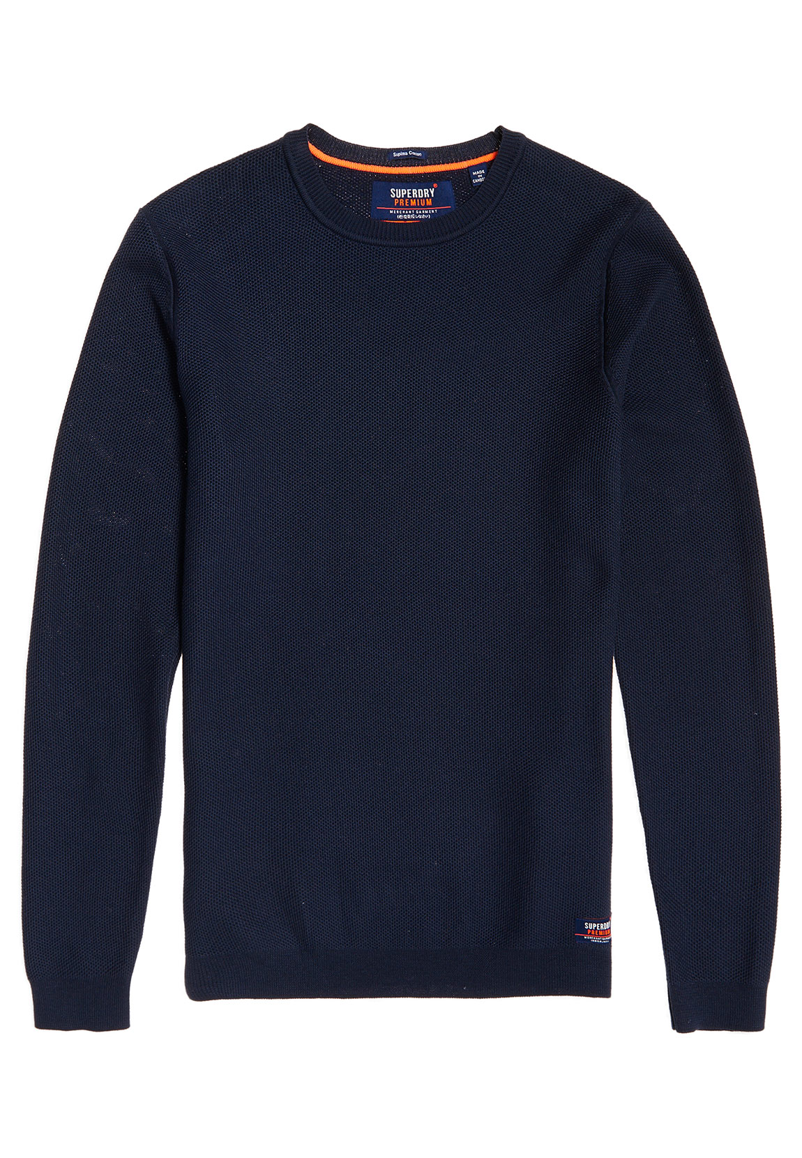 best service b59d5 cfbd5 Superdry Pullover Herren SUPIMA COTTON CREW Dark Navy