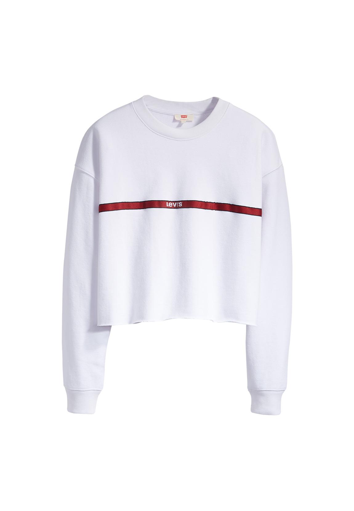 Details about Levis Women's Sweatshirt Graphic Raw Cut Crew 56340 0011 White