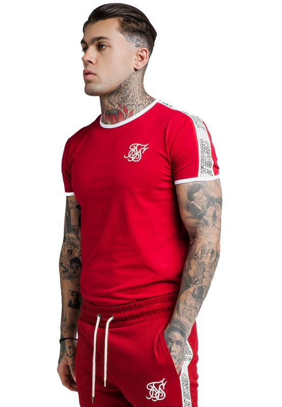 SikSilk Herren T-Shirt SS TAPED RUNNER TEE SS-14259 Red – Bild 2