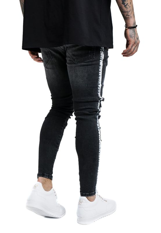 SikSilk Herren Jeans PAINT STRIPE DENIMS SS-13919 Washed Black – Bild 4