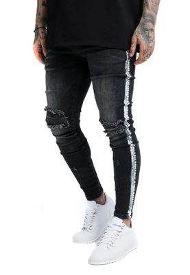 SikSilk Herren Jeans PAINT STRIPE DENIMS SS-13919 Washed Black – Bild 1