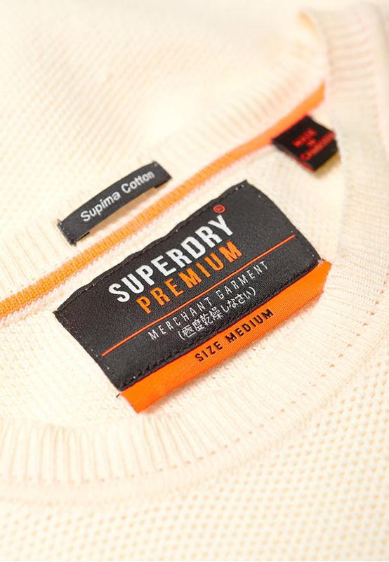 Superdry Pullover Herren SUPIMA COTTON CREW Cloud – Bild 3