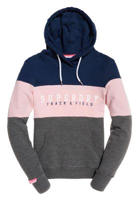 Superdry Sweater Damen TRACK & FIELD LITE CB HOOD Dark Grey Marl