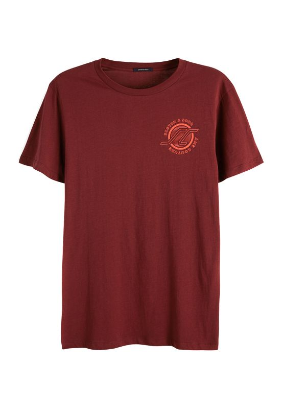 Scotch & Soda Herren T-Shirt SPORTY CLASSIC CREWNECK TEE 149030 Dunkelrot 0737