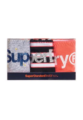 Superdry Damen Slip Dreierpack SUPER STANDARD BRIEF TRIPLE PA Grey Marl Stripe Coral – Bild 0