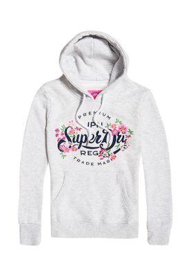 Superdry Sweater Damen PREMIUM SCRIPT FLORAL ENTRY Ice Marl