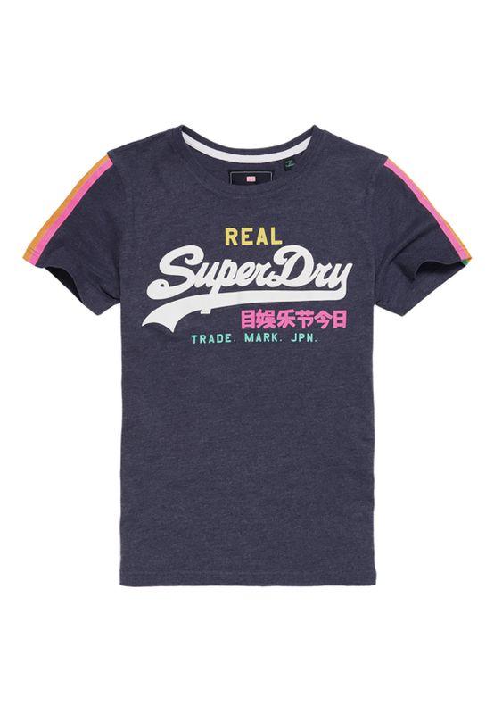 Superdry T-Shirt Damen V LOGO SLEEVE STRIPE ENTRY TEE Princedom Blue Marl – Bild 1