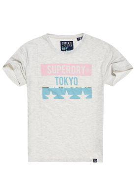 Superdry T-Shirt Damen TOKYO STARS PORTLAND TEE Ice Marl