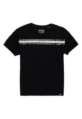 Superdry T-Shirt Damen MINIMAL LOGO TAPE PORTLAND TEE Black – Bild 0