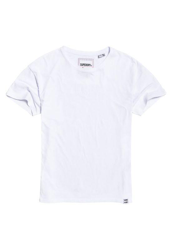 Superdry T-Shirt Damen MINIMAL LOGO TONAL EMB PORTLAN Optic – Bild 1