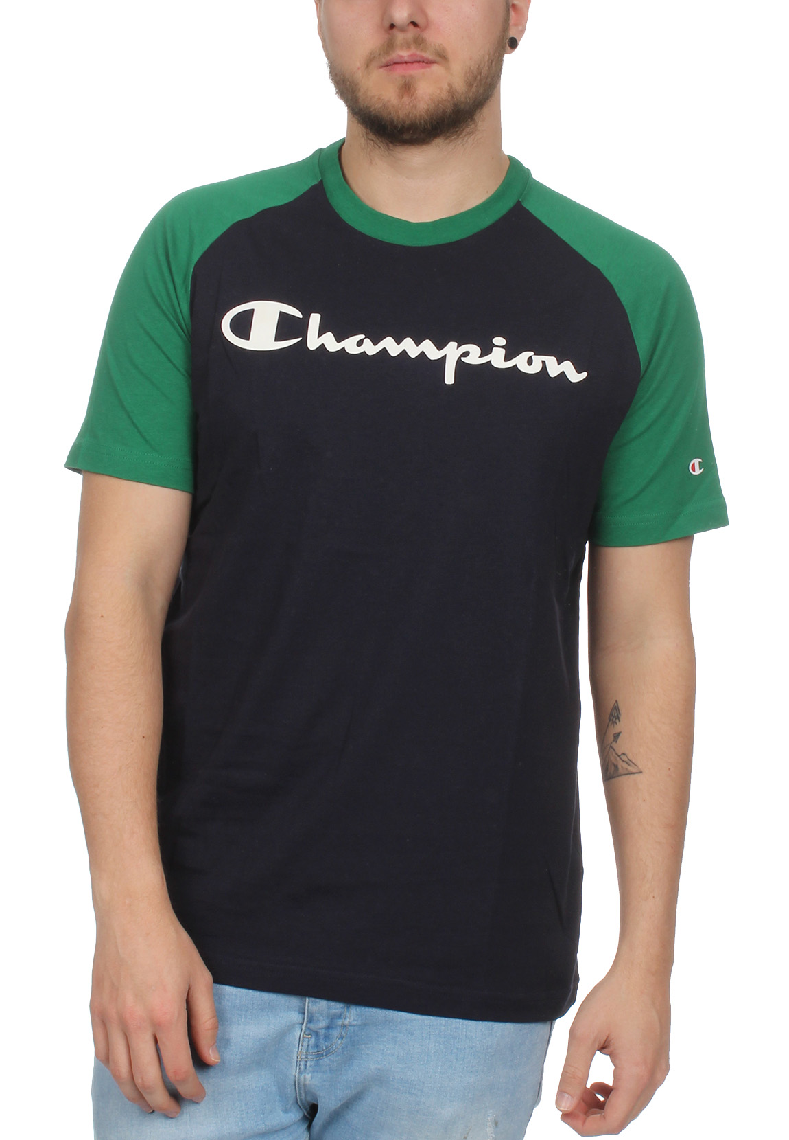 5d4454fc2f35d8 Champion T-Shirt Herren 212688 S19 BS501 NNY VVG Dunkelblau Grün ...