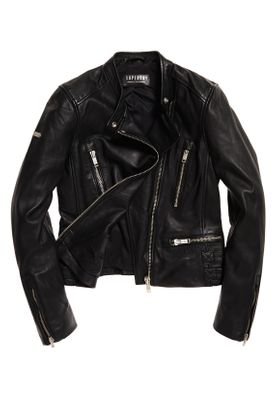 Superdry Lederjacke Damen LYLA LEATHER RACER Black – Bild 0