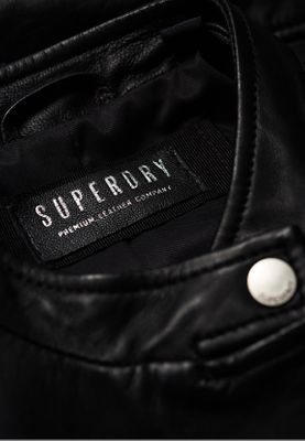 Superdry Lederjacke Damen LYLA LEATHER RACER Black – Bild 3